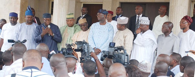 PHOTONEWS: Govs Briefing Newsmen After All Progressive Congress (APC) Meeting In Abuja On Tuesday