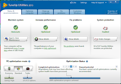 Tune Up utility 2013 UI: Intelligent Computing