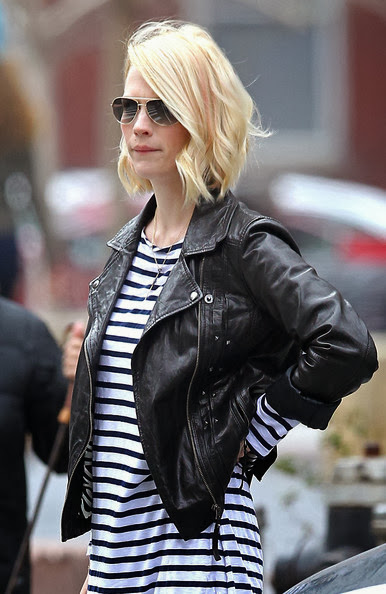 January Jones Street Style Stripes Biker Jacket