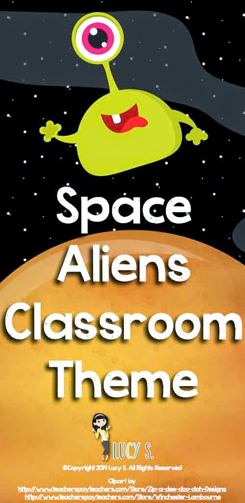 Here 39 s an idea space aliens or monsters classroom theme for Outer space classroom decor
