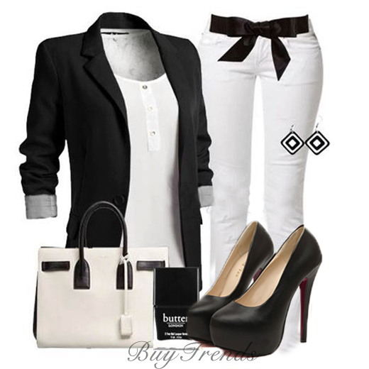 Black jacket, white blouse, white pants, handbag and sandals formal outfit