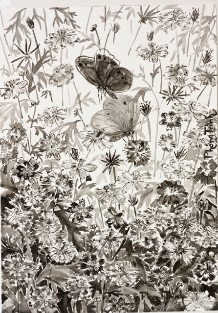 Black and white watercolor painting nature, plants and insects, 29.5x21cm