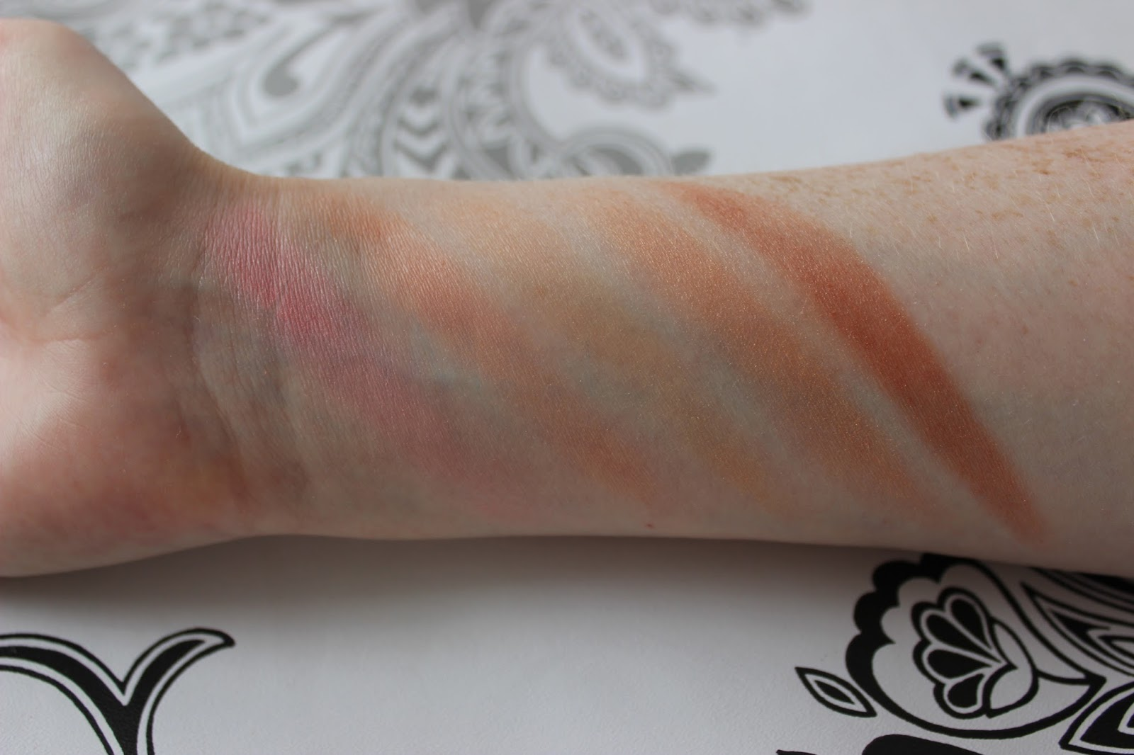 Crownbrush 10 colour blusher palette bottom row swatches