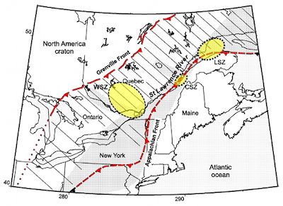 Geological setting of the Saint Lawrence valley
