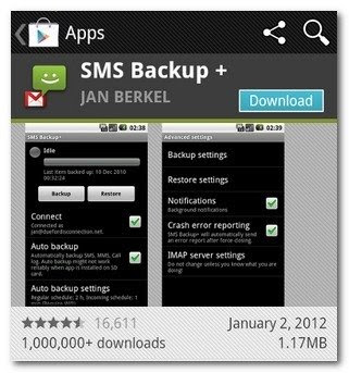 How to backup text sms messages in android