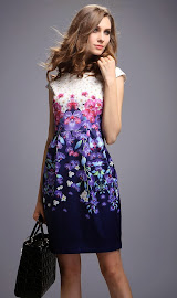 Purple Dendrobium Orchid Print Dress