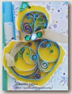 Lovely Quilled Blue Snowman card from Antonella at www.quilling.blogspot.com