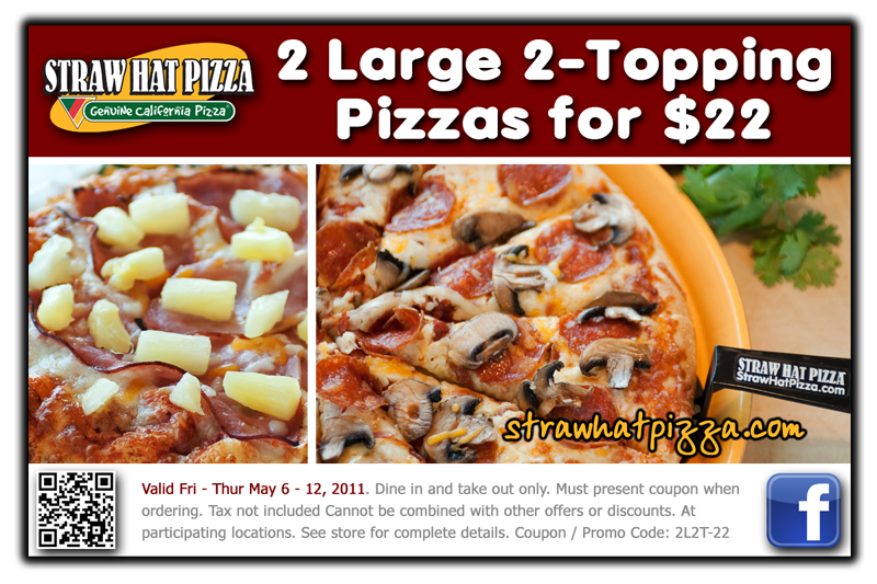 Straw Hat Pizza Weekly Special For Fri Thurs May 6 12 2011
