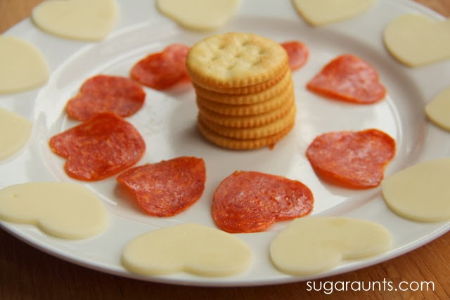 Heart shaped cheese and pepperoni make the perfect non-candy Valentine's day treat for kids.