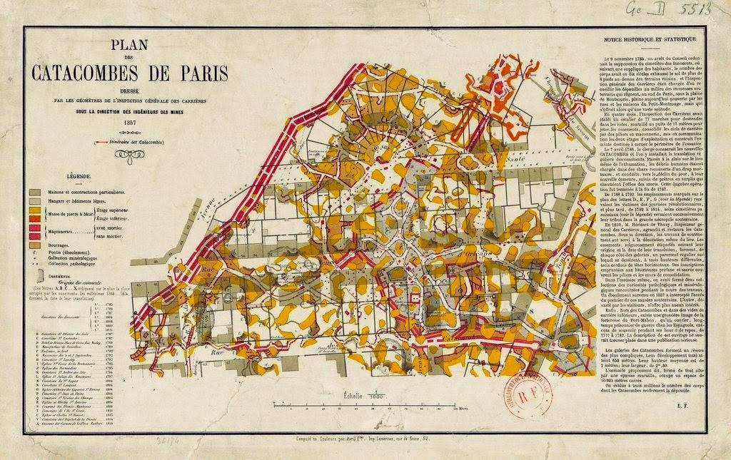 Plan des Catacombes de Paris, 1857