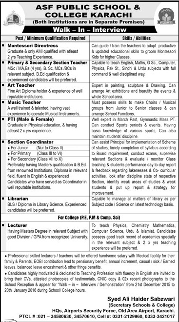 Jobs in ASF Public School & College Karachi