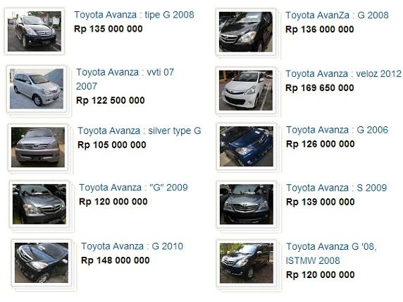daftar harga mobil avanza