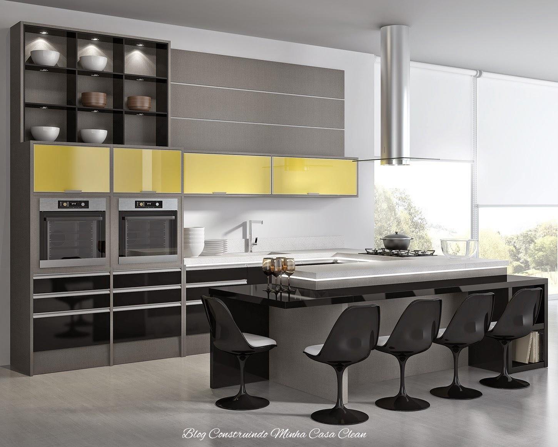 Quarto Com Balcao ~ Construindo Minha Casa Clean Cozinhas Modernas com Cinza