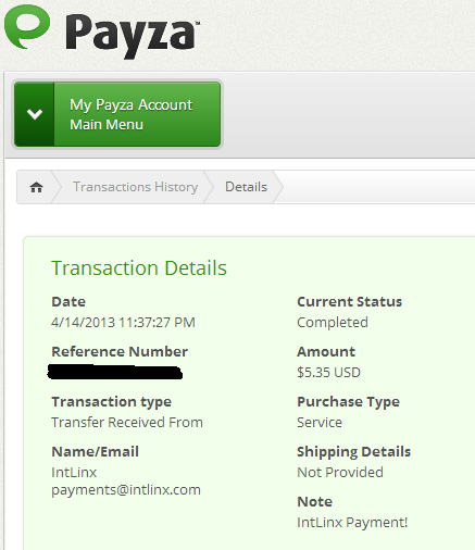Payment received from Intlinx