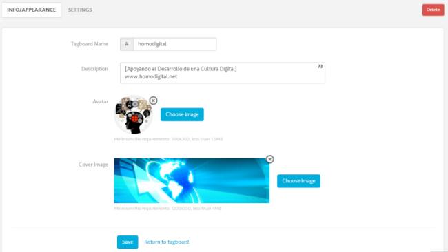 Configura el Tagboard
