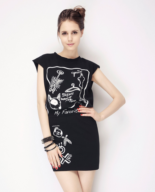 Cartoon Doodle Print Top and Skirt