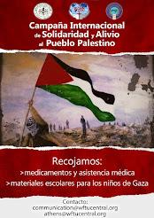 Campaña Internacional de la FSM en Solidaridad y Alivio al Pueblo Palestino (Afiche)