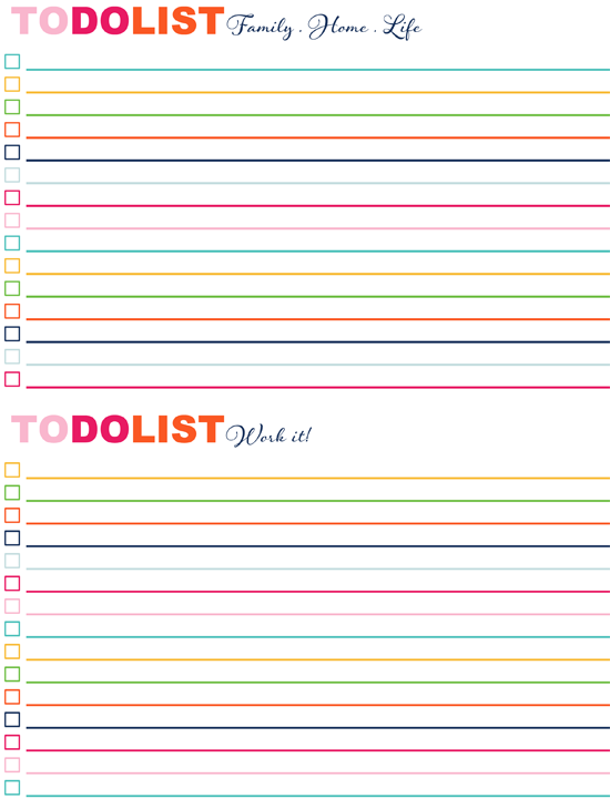IHeart Organizing Free Printables – Free Printable Daily to Do List Template