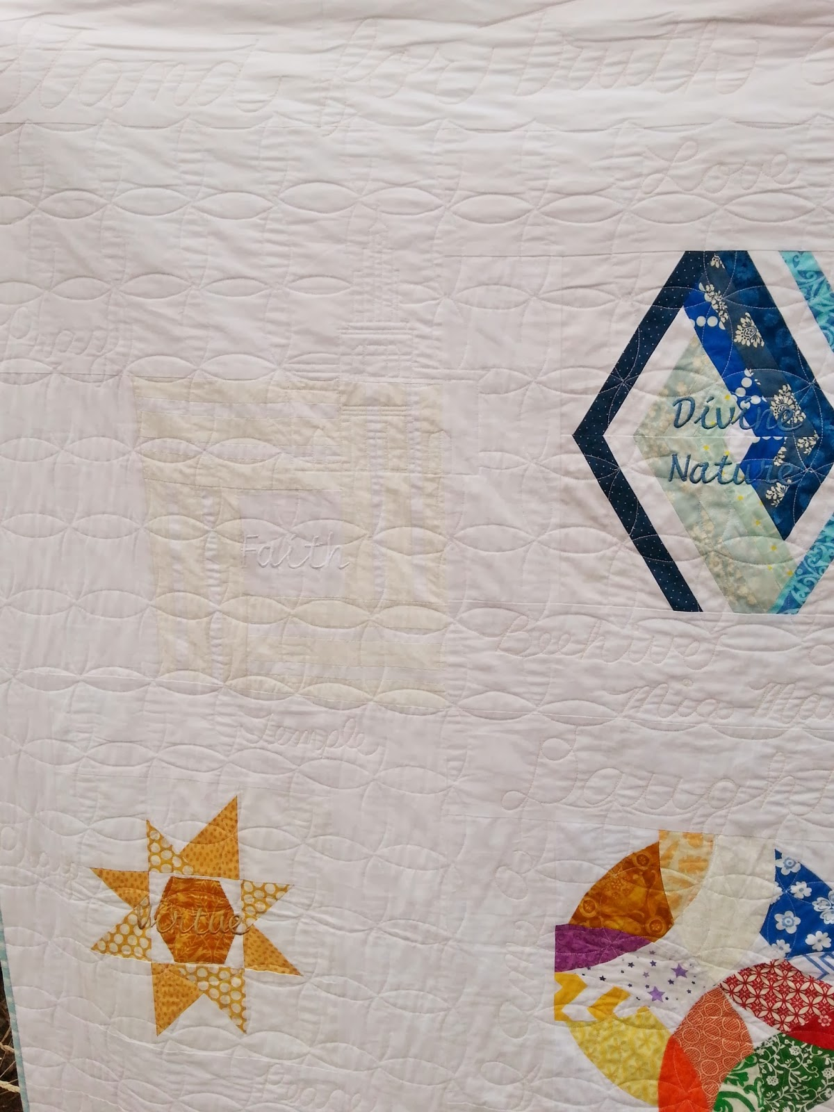 LDS YW Value Quilt quilting details