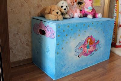 Ящик для игрушек, роспись