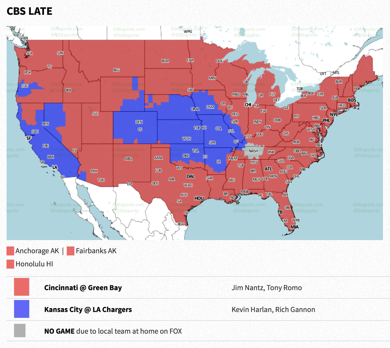 and here is the map for the cbs late game coverage like the seattle game it s not quite a national game as pockets of the country will be forced to see