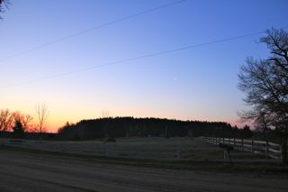photo of Spring sunrise with crescent moon