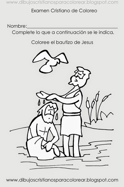 Examen para colorear a Jesus en el bautismo ~ Dibujos Cristianos ...