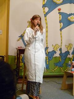 Maureen Johnson in a robe