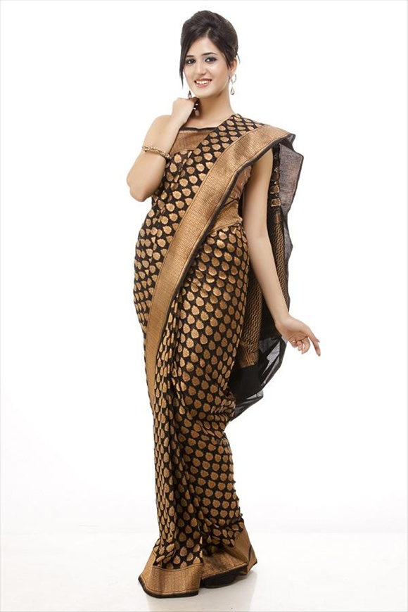 Black Art Kattan Silk Banarasi Saree