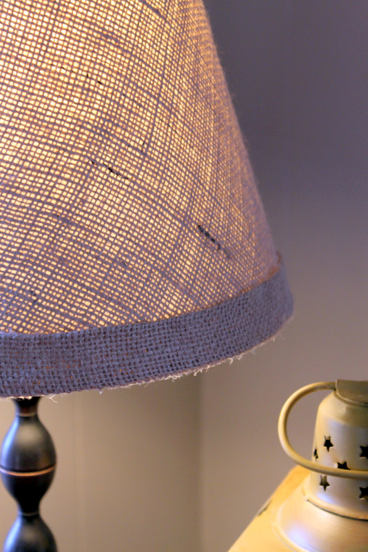 Burlap covered lamp shade tutorial the cottage mama i considered using bias tape for binding the top and the bottom of the lamp shade you certainly could give that a try if you want to skip the step of aloadofball Image collections