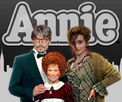 Depp, Bonham-Carter and Mills in Tim Burton's Annie