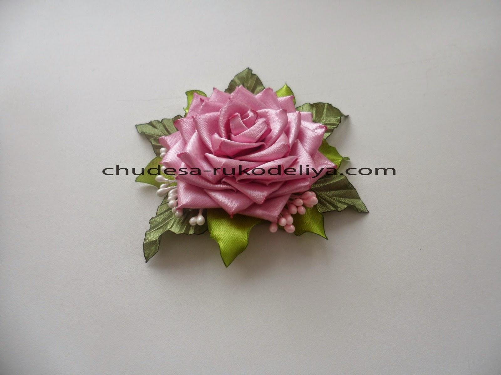 Розы из канзаши пошаговое фото