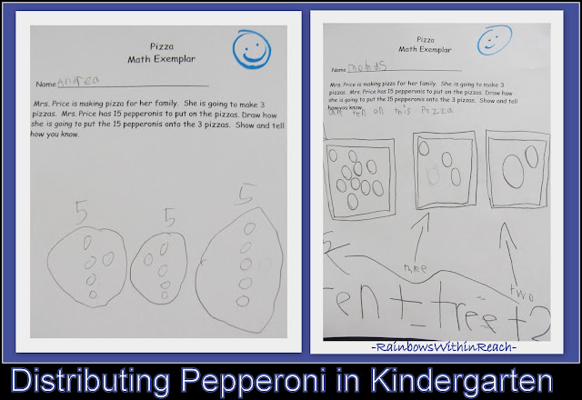 photo of: Kindergarten Pizza Math Exemplar (division of pepperoni onto student drawn pizzas)