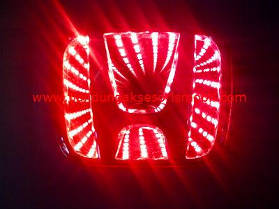 Front Logo + Lampu 3D Honda Merah