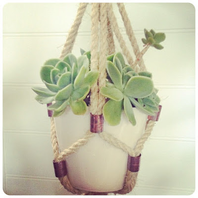 DIY tutorial plant hanger rope copper