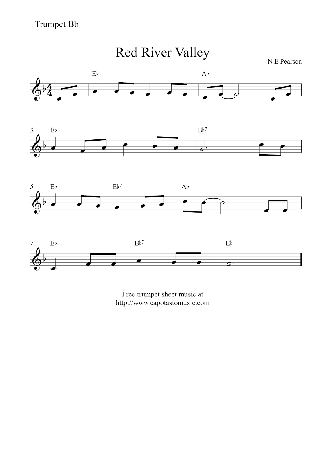 Free easy trumpet sheet music red river valley