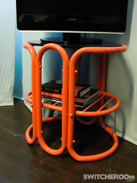 tv stand, coral tv stand, colorful night stand