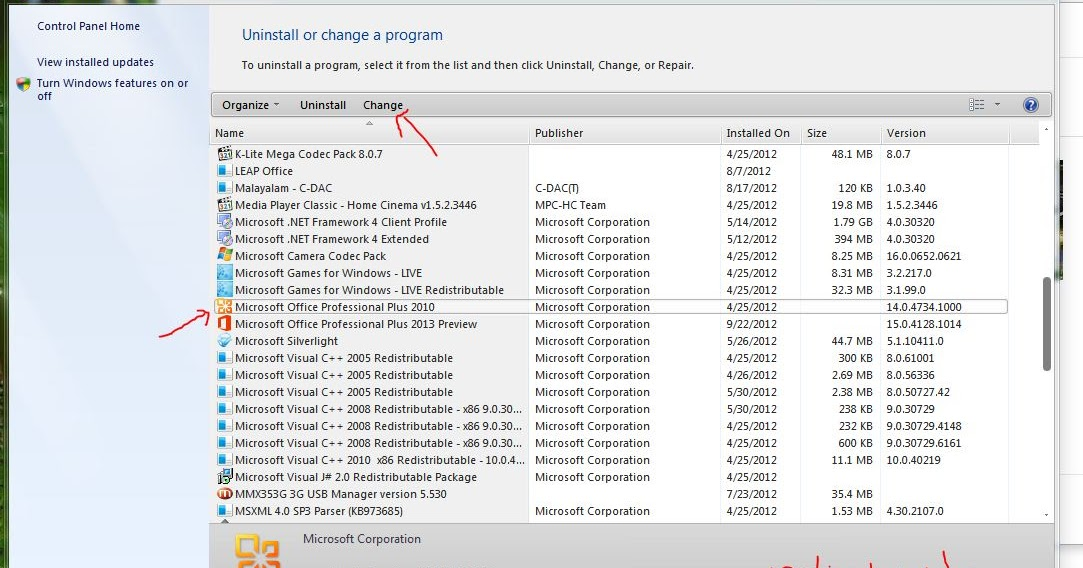 how to change product key office 2013