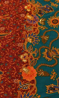 Duo-tone Turquoise Tan Balinese Style Flower Batik