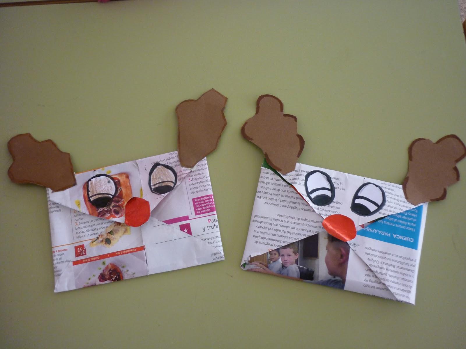 tarjetas navideas con materiales reciclados
