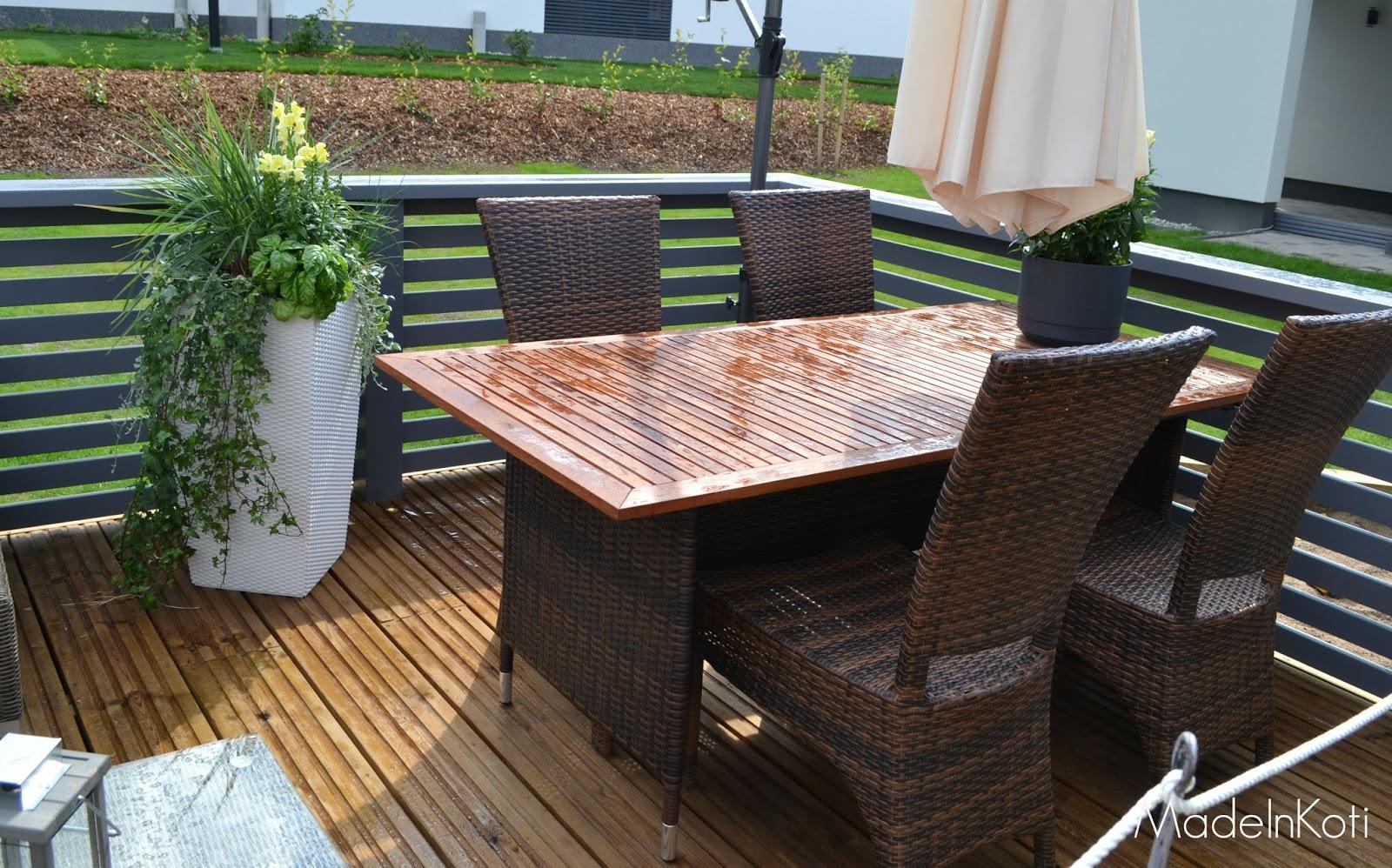 MadeInKoti Valkoinen pöytä vs musta terassipöytä