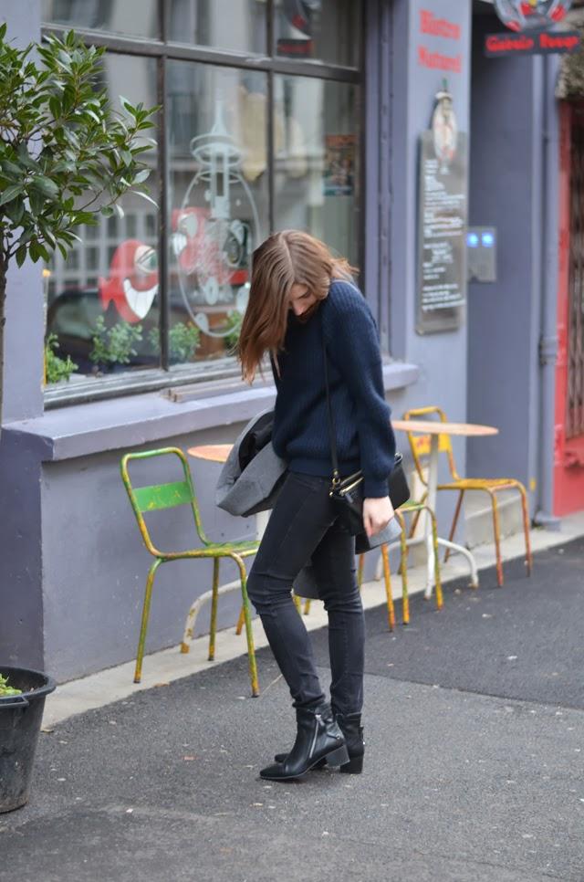 boots zara noir en cuir zippées