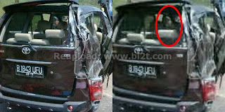 Foto Gambar Muncul Hantu Perempuan di Dalam Mobil Saiful Jamil saat Kecelakaan Virginia Istri Meninggal Mati