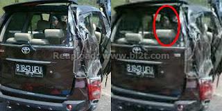 Foto Gambar Muncul Hantu Perempuan di Dalam Mobil Saiful Jamil saat Kecelakaan Virginia Istri Meninggal Mati
