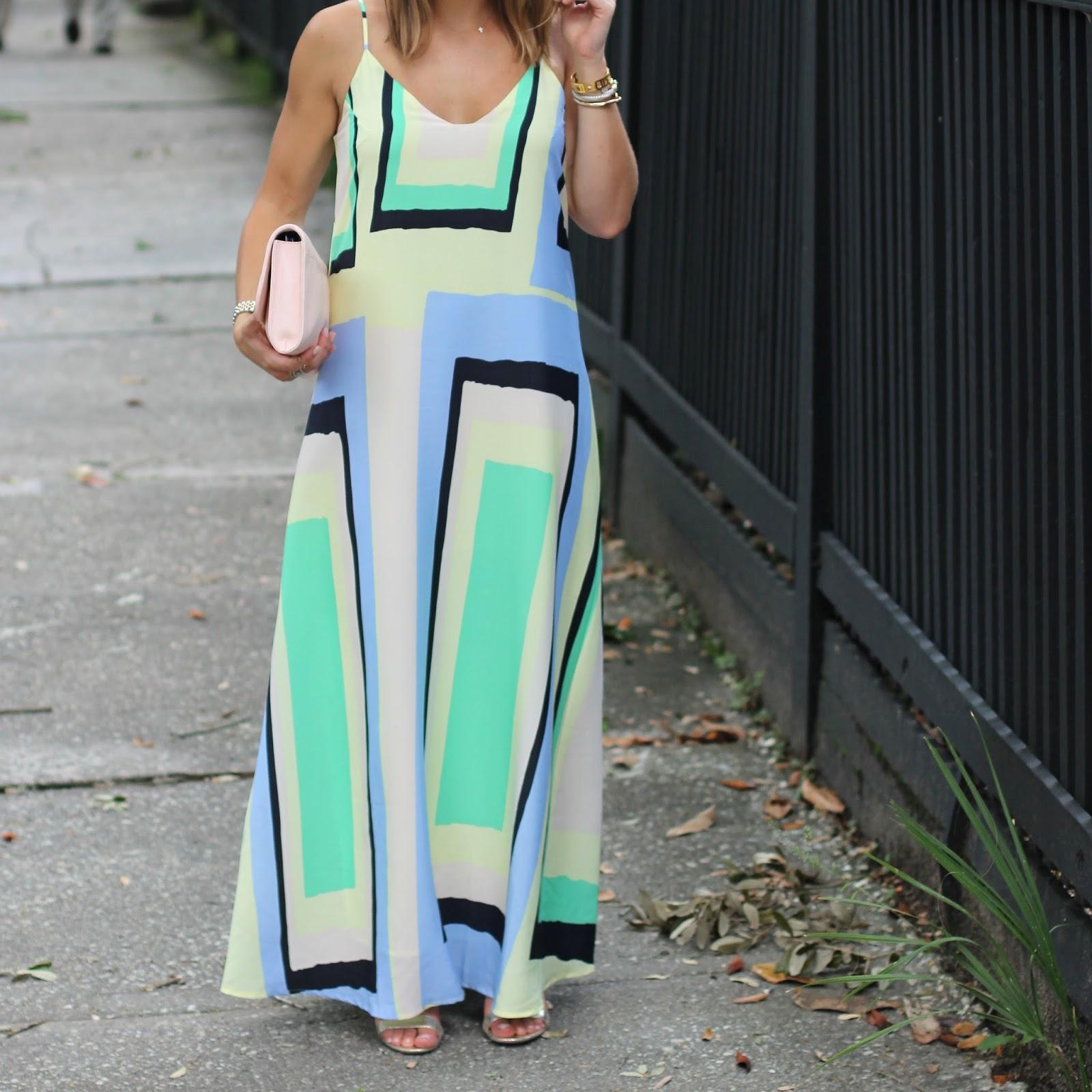 Shelby from Glitter & Gingham: Anthropologie Maxi Dress, Vera Bradley Clutch
