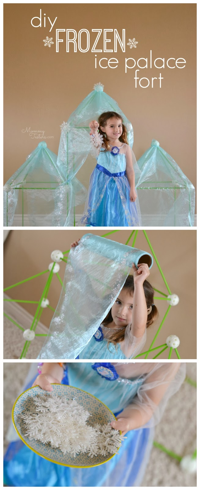 Mommy Testers, Disney Frozen Ice Palace, DIY Frozen Ice Palace, DIY FROZEN Ice Castle, DIY Frozen Ice Palace, DIY Disney Frozen Castle, How to make an ice palace fort
