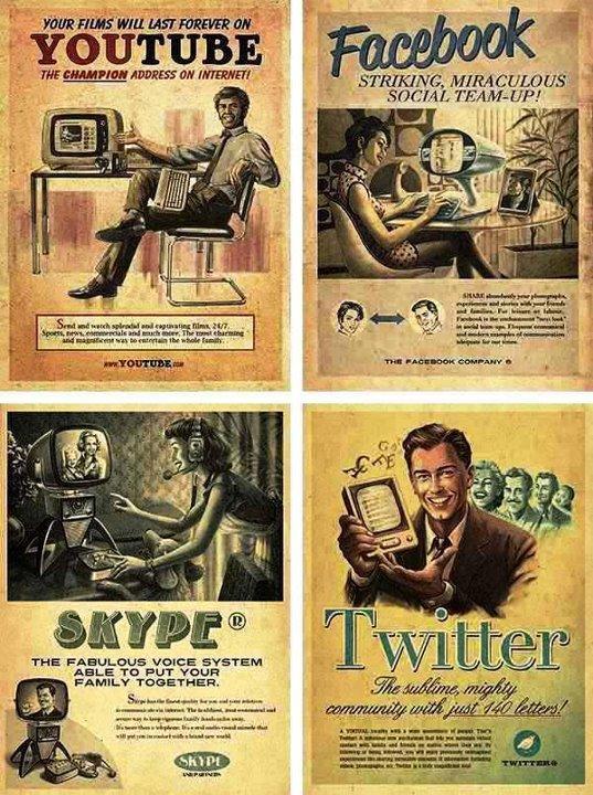 redes sociais retro