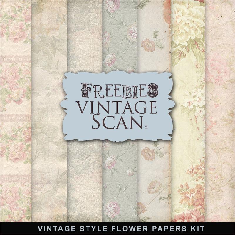 Freebies Vintage Flower Papers Kit.:Far Far Hill