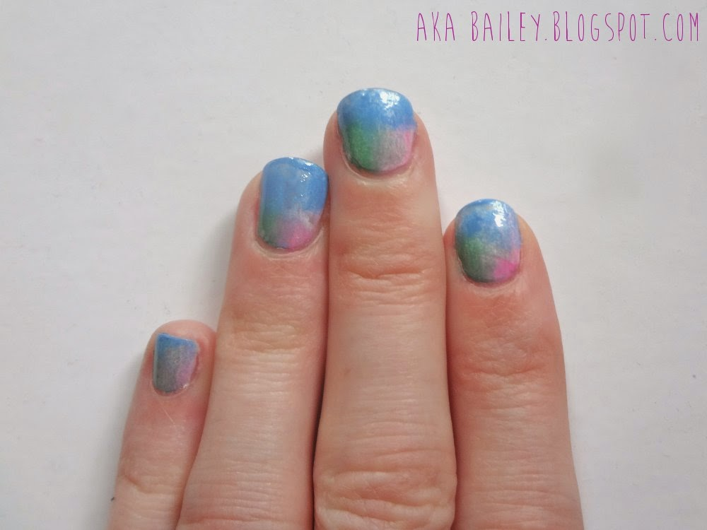 aka Bailey: sponge mani using spring colors