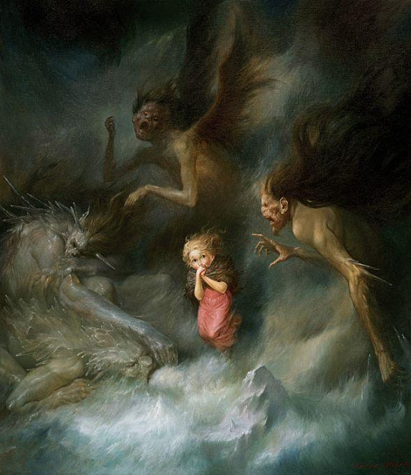 Viktor Safonkin pinturas surreais sombrias medievais mitológicas religião subconsciente Oração a Gerda